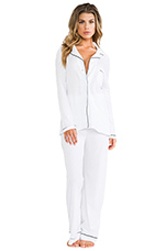 Piped Pajama Set in White/Black