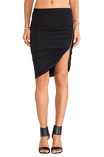 Side Ruched Zip Skirt in Black