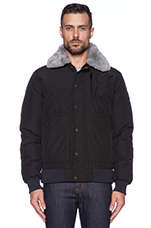 Greenhill Bomber with Shearling trim in Black