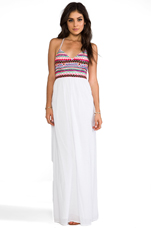 Embroidered Halter Maxi Dress in White
