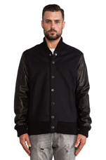 Jacket with Leather Arms in Navy