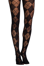 Semi Sheer Argyle Tights in Black
