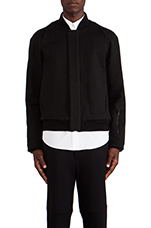 Double Face Canvas Bomber Jacket in Black