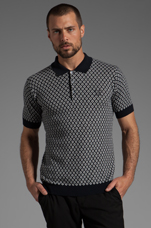 Knitted Jacquard Fred Perry Shirt Polo in Navy