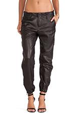 Zipper Pajama Pant in Black Leather