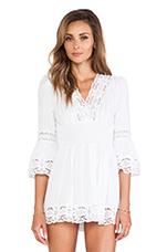 Long Sleeve Boho Dress in White