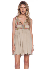 Embroidered Dress in Beige