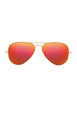Large Metal Flash Lense Aviator in Matte Gold & Orange Flash