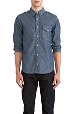 Selvage Button Down in Indigo Chambray