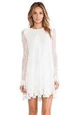 Serafina Lace Babydoll Dress in Winter White