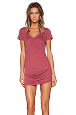 V Neck with Shirring Dress in Cran
