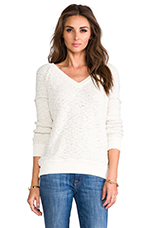 V-Neck Boucle Sweater in Ivory