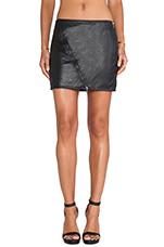 Perforated Vegan Mini Skirt in Black