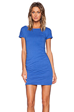 Boat Neck Ruched Dress in Sapphire