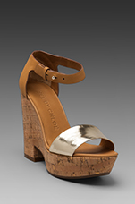 Wedge Sandal in Taupe/Gold