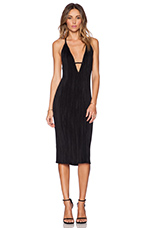 Stretch Pleat Midi Dress in Black