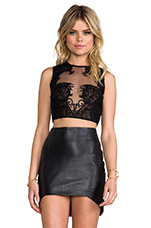Nouveau Mesh and Lace Crop Top in Black