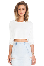Cher Crop Sweater in Super Solid Ivory