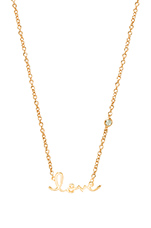 Love Necklace with Diamond Bezel in Yellow Gold