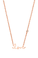 Love Necklace with Diamond Bezel in Rose Gold