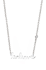 Believe Necklace with Diamond in White Rhodium