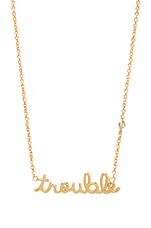 Trouble Necklace with Diamond Bezel in Yellow Gold