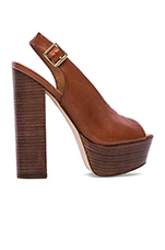 Skinny Platform in Brown Leather