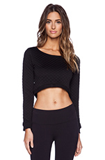 Quilted Cropped Sweatshirt in Black