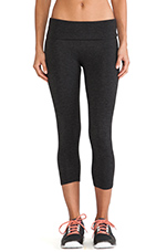 Basics Fold Over Crop Legging in Heather Charcoal
