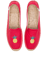 Linen Pinapple Smoking Slipper in Coral