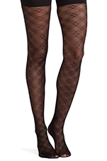 Floral Check Tights in Black