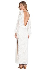 White Dove Vintage Long Sleeve Dress in White
