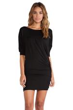 Shirred 3/4 Slv Dress in Black