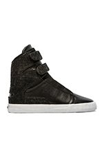Society II High Top Sneaker in Black Leather