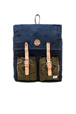 Mixed Fabric Leather Backpack in Night