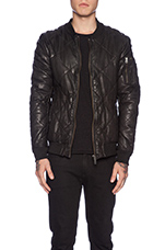 Quilted Leather Bomber Jacket in Black