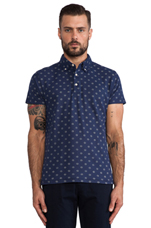 Polka Dot Polo in Navy/Grey