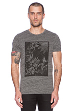 Short sleeve Crewneck Monochrome Flower Print Tee in Cement