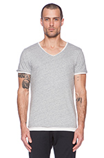 Double Layer V-Neck Tee in Grey
