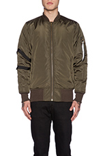 Strapped Bomber Jacket in Olive