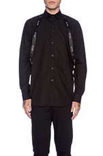 Strapped Button Down in Black