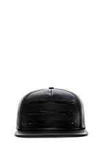 3 Zipper Leather Hat in Black