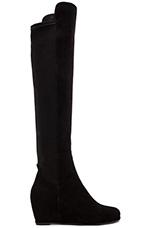 Semi Stretch Suede Boot in Black