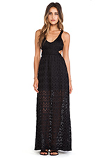 Crochet Open Back Maxi Dress in Black