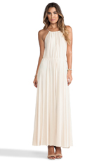 Tank Maxi Dress with Tonal Hem and Trim in Cream
