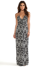 Maxi Halter Dress in Black White Ikat