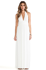 Plunging Halter Maxi Dress in White