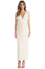 V Neck Lace Maxi Dress in Natural