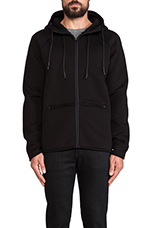 Scuba Double Knit Hooded Sweatshirt in Black