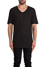 Slub Rayon Silk Low Neck Tee in Charcoal